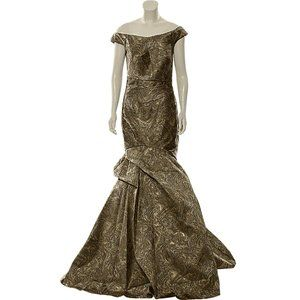 Terani Couture Off Shoulder Evening Gown Bronze